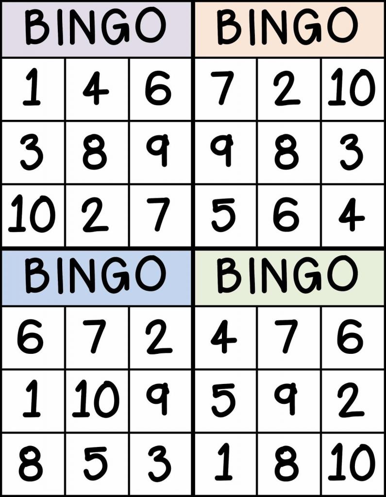 Bingo For Numbers 1-10. Great For Preschool Number Identification   Free Printable Bingo Cards 1 100
