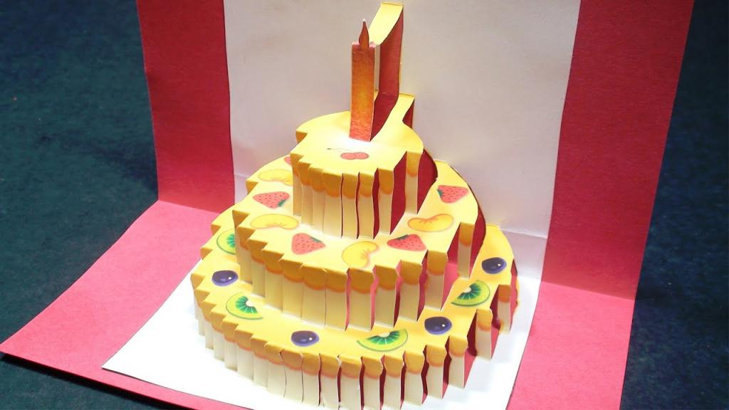 Birthday Cake Pop Up Card (Happy Birthday Kirigami)   Free Template   Free Printable Pop Up Birthday Card Templates