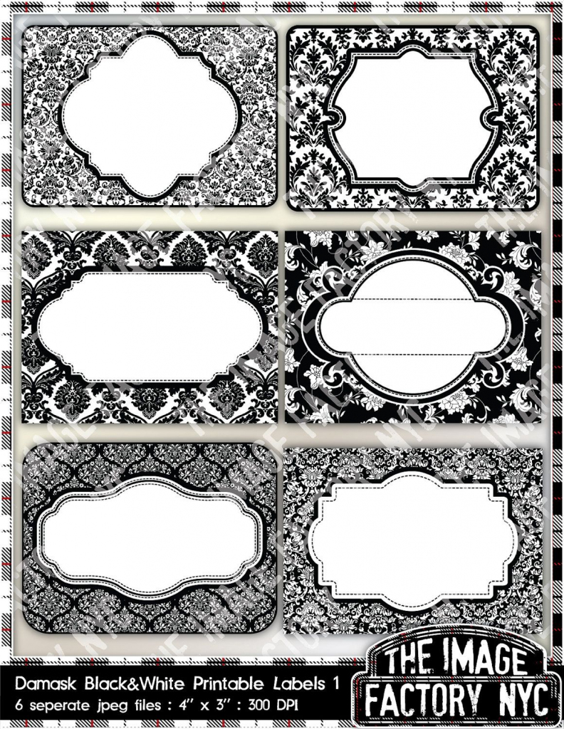 Black And White Damask Printable Labels & Tags, For Gift Tags, Place   Free Printable Damask Place Cards