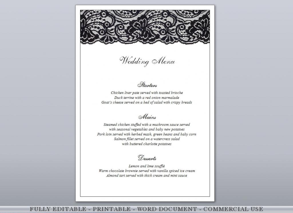 Black Lace Fully Editable Printable Menu & Free Place Cards   Etsy   Free Printable Damask Place Cards