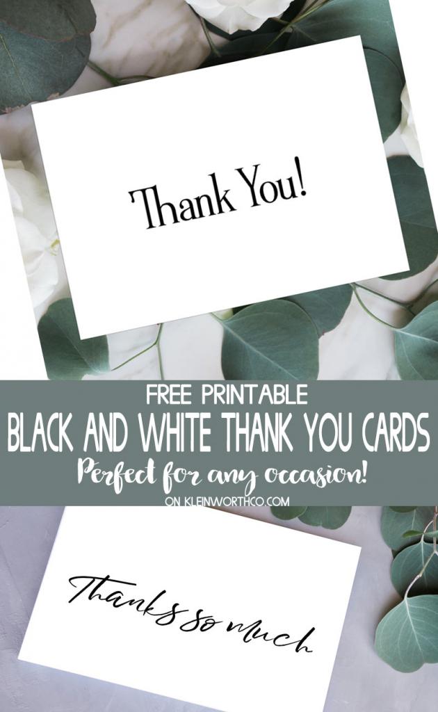 Black & White Thank You Cards - Free Printable - Kleinworth & Co | Free Printable Thank You Cards Black And White