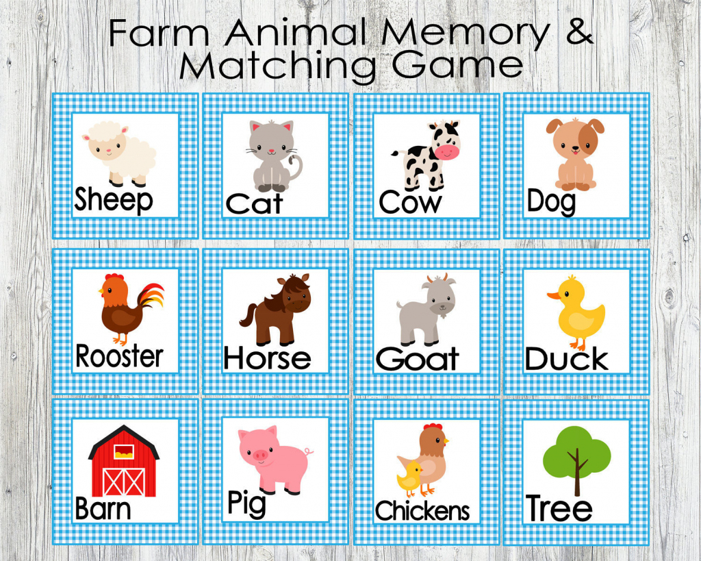 Blue Farm Animal Matching And Memory Game. Printable Game For   Etsy   Animal Matching Cards Printable