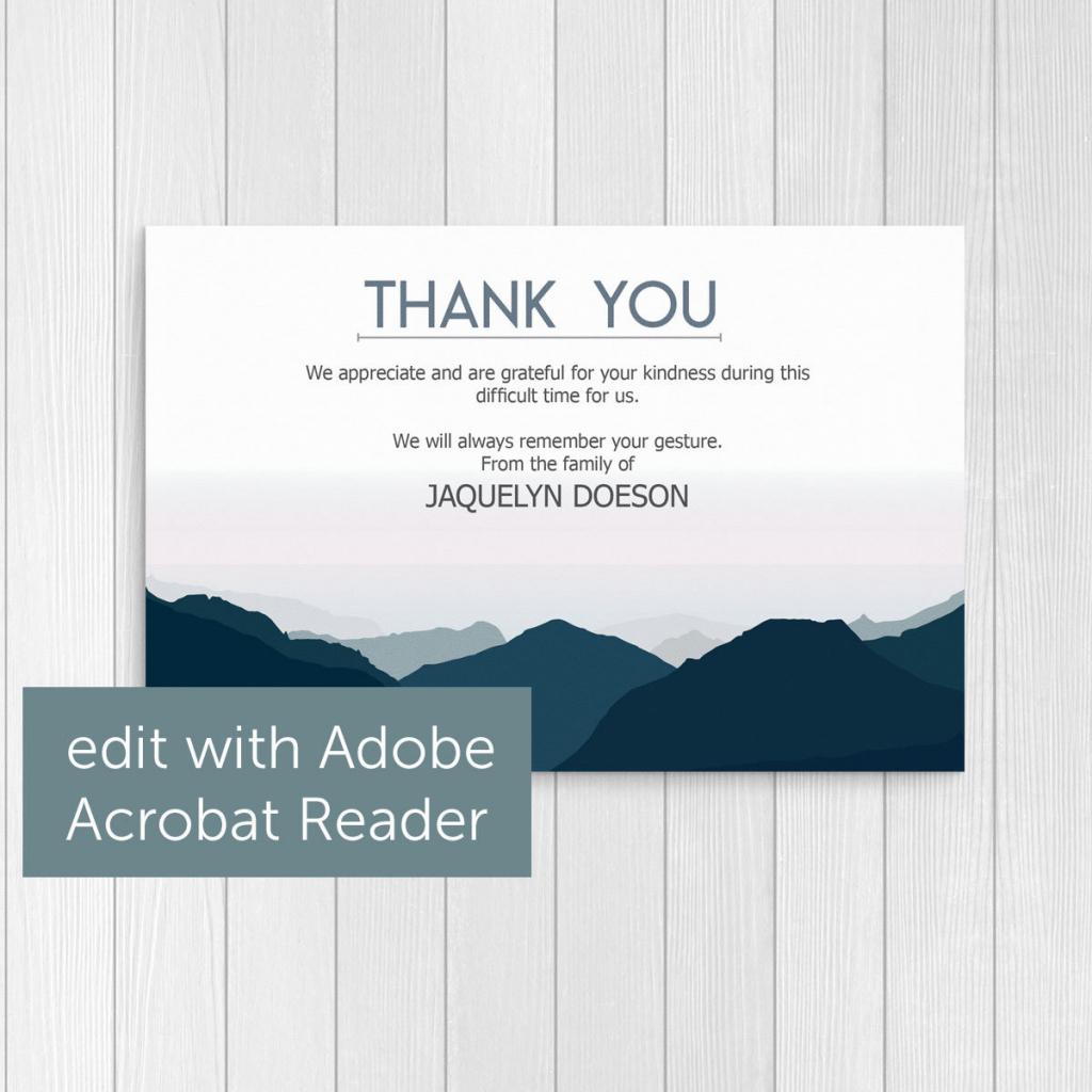 Blue Mountain Theme Thank You Card Template Printable And | Etsy | Blue Mountain Printable Cards