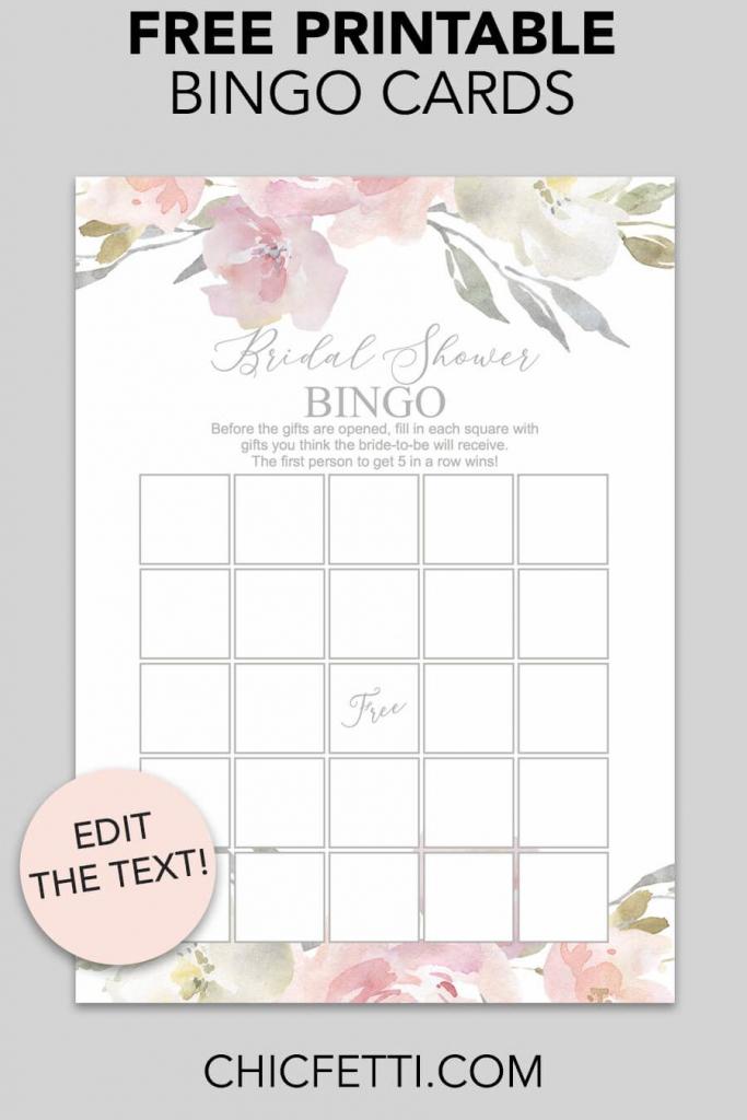 Blush Floral Printable Bridal Shower Bingo | Free Wedding Printables | Printable Blank Bridal Shower Bingo Cards