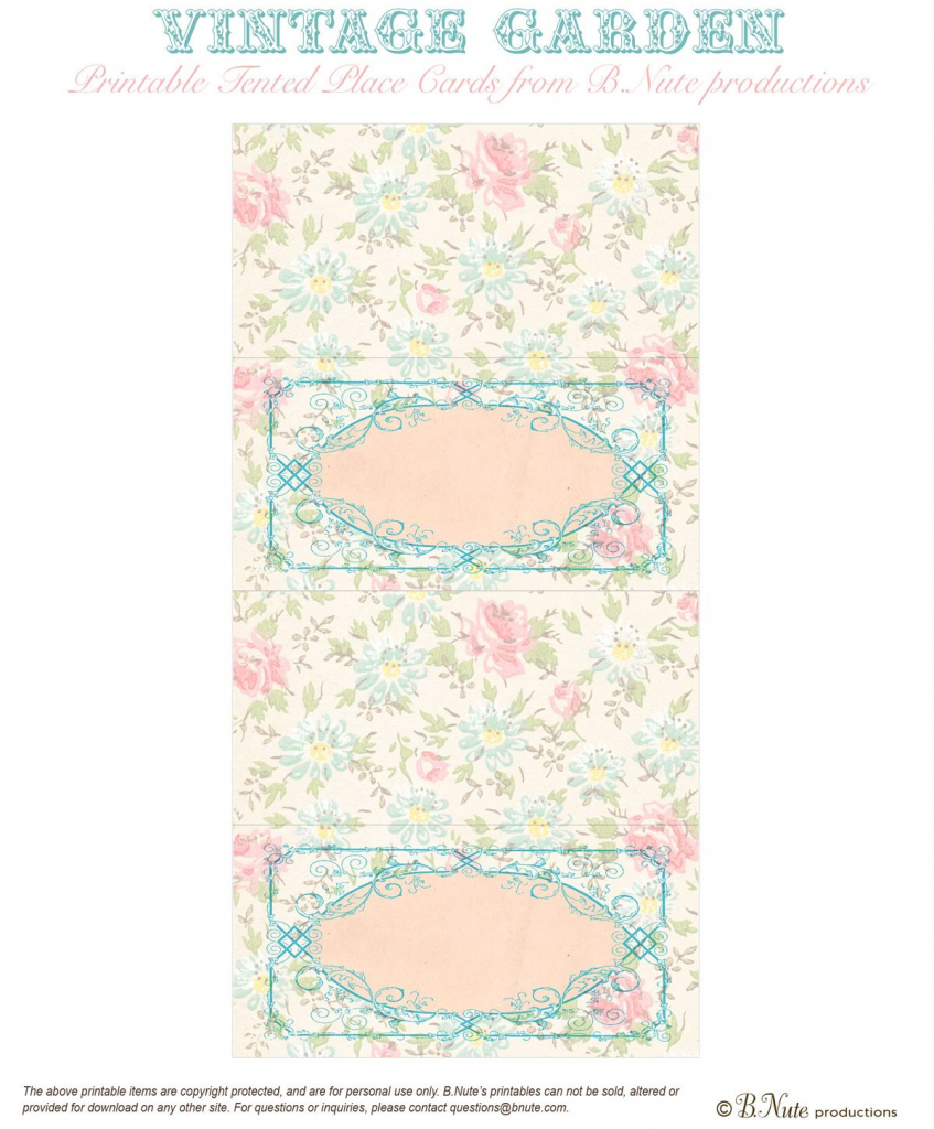 Bnute Productions: Free Printable Vintage Garden Placecards   Misc   Free Printable Damask Place Cards