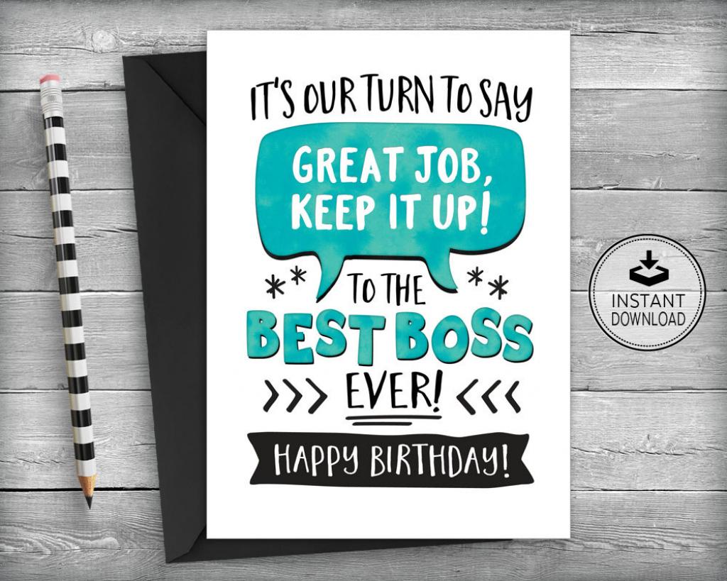 Boss Birthday Card Card For Boss Boss Appreciation Card   Etsy   Happy Boss's Day Cards Printable