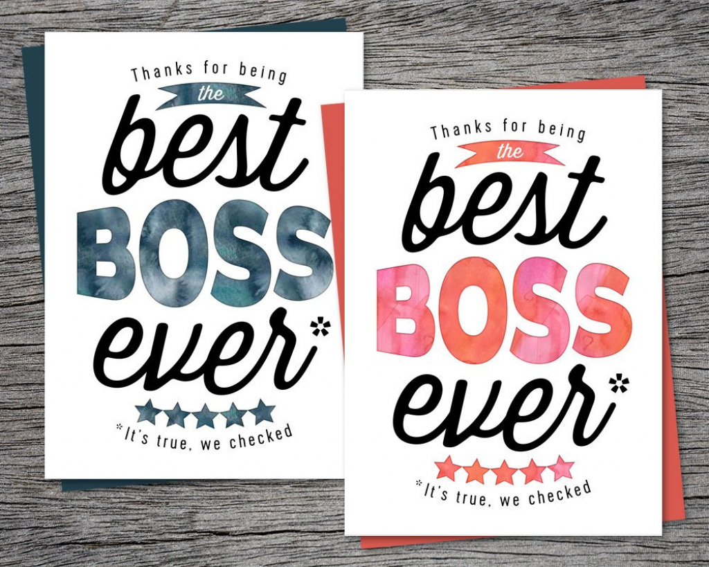 Boss's Day Card Thanks For Being The Best Boss Ever   Etsy   Boss's Day Printable Cards