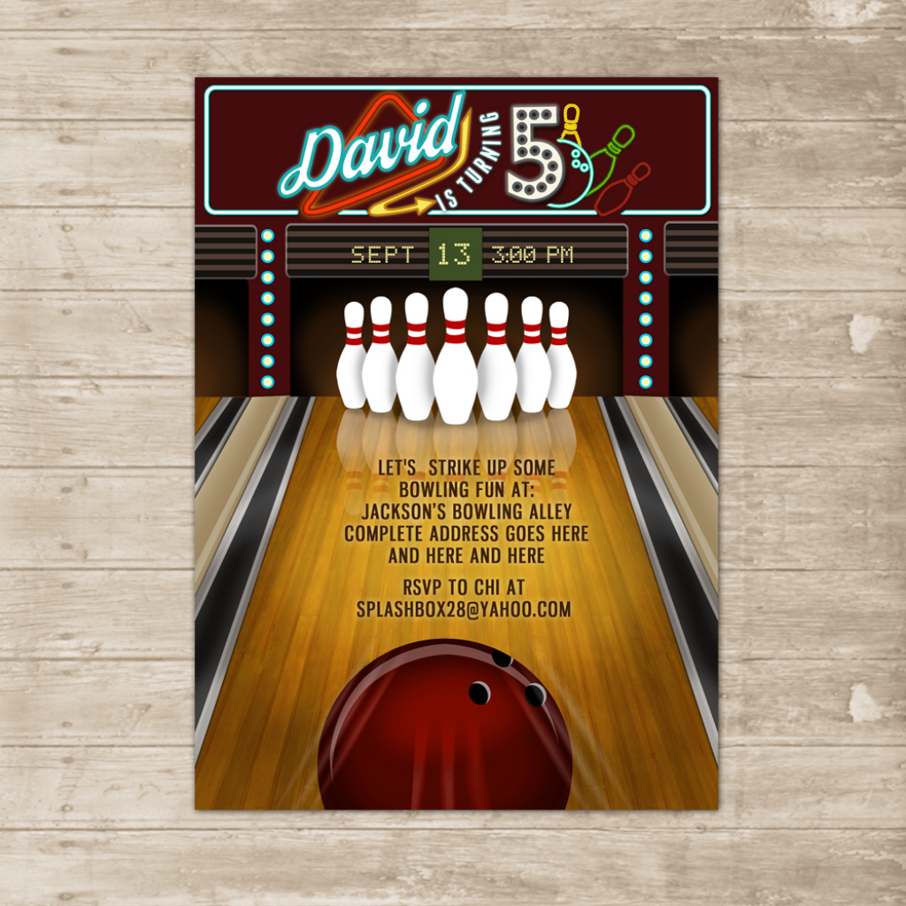 Bowling Party Invitation Bowling Lane Alley Ball Invite Birthday Printable  Card From Splashbox Printables | Bowling Birthday Cards Printable