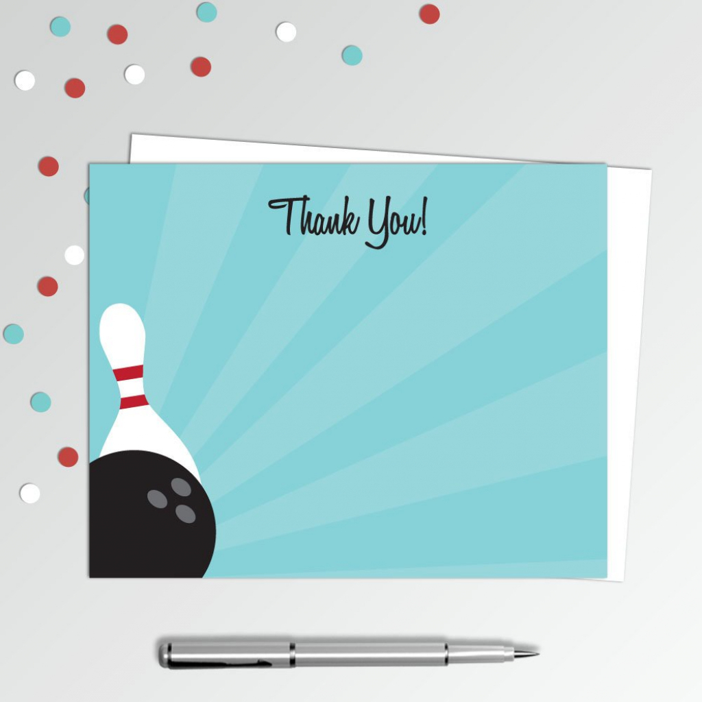 """Bowling Thank You Cards - Bowling Birthday Party - Printable Thank You Note  - Birthday Thank You Notes - 4X5"""" Flat Card - Printable Card 