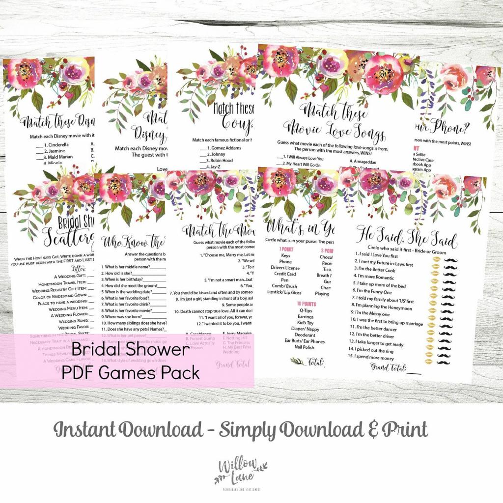 Bridal Shower Games Mega Pack Of 10 Printable Pdf Games, Pink Floral | Printable Card Games Pdf