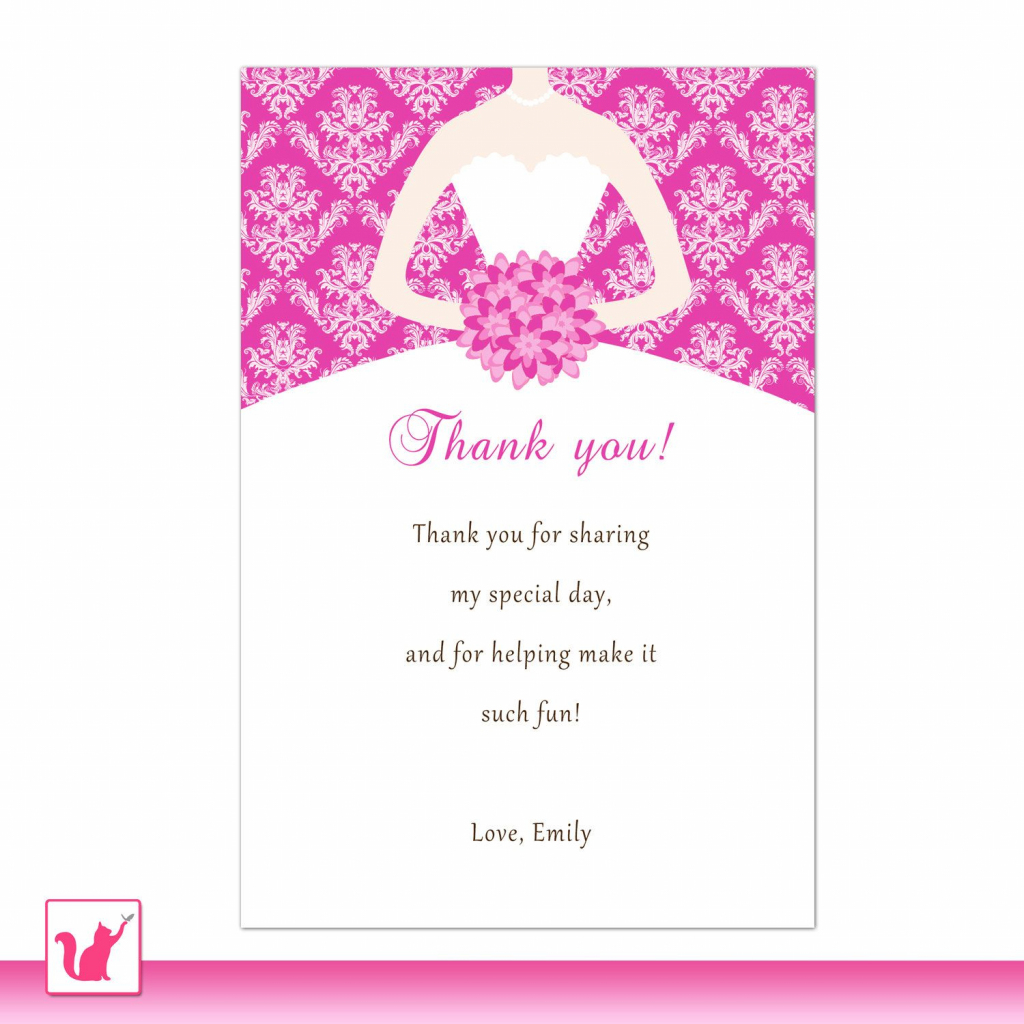 Bride Dress Bridal Shower Thank You Card Hot Pink Thank You Note   Printable Quinceanera Birthday Cards