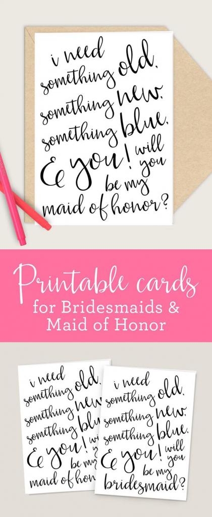 Bridesmaid & Maid Of Honor Printable Cards, 4X6 5X7 Pdf, Will You Be   Printable Bridesmaid Proposal Cards