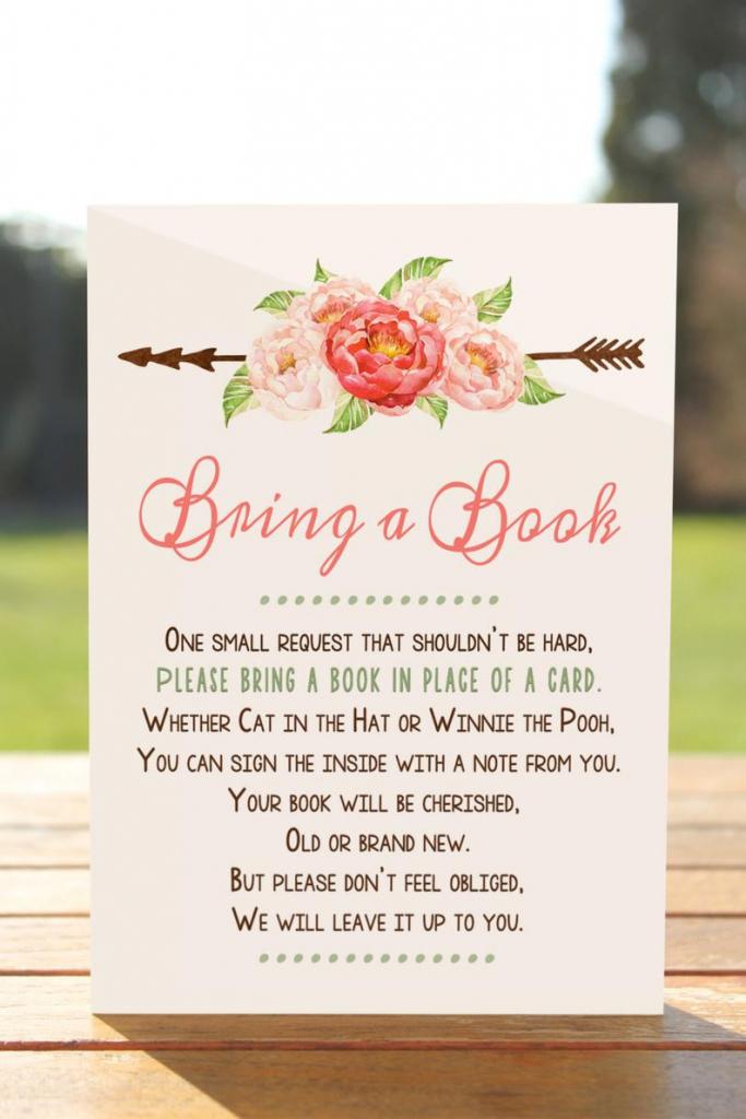 Bring A Book Instead Of A Card Bring A Book Baby Shower   Etsy   Please Bring A Book Instead Of A Card Printable