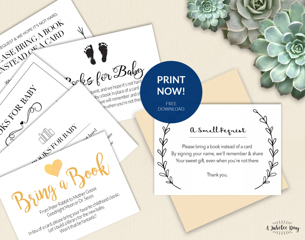 Bring A Book Instead Of Card (Free Printable!) - A Jubilee Day   Please Bring A Book Instead Of A Card Printable