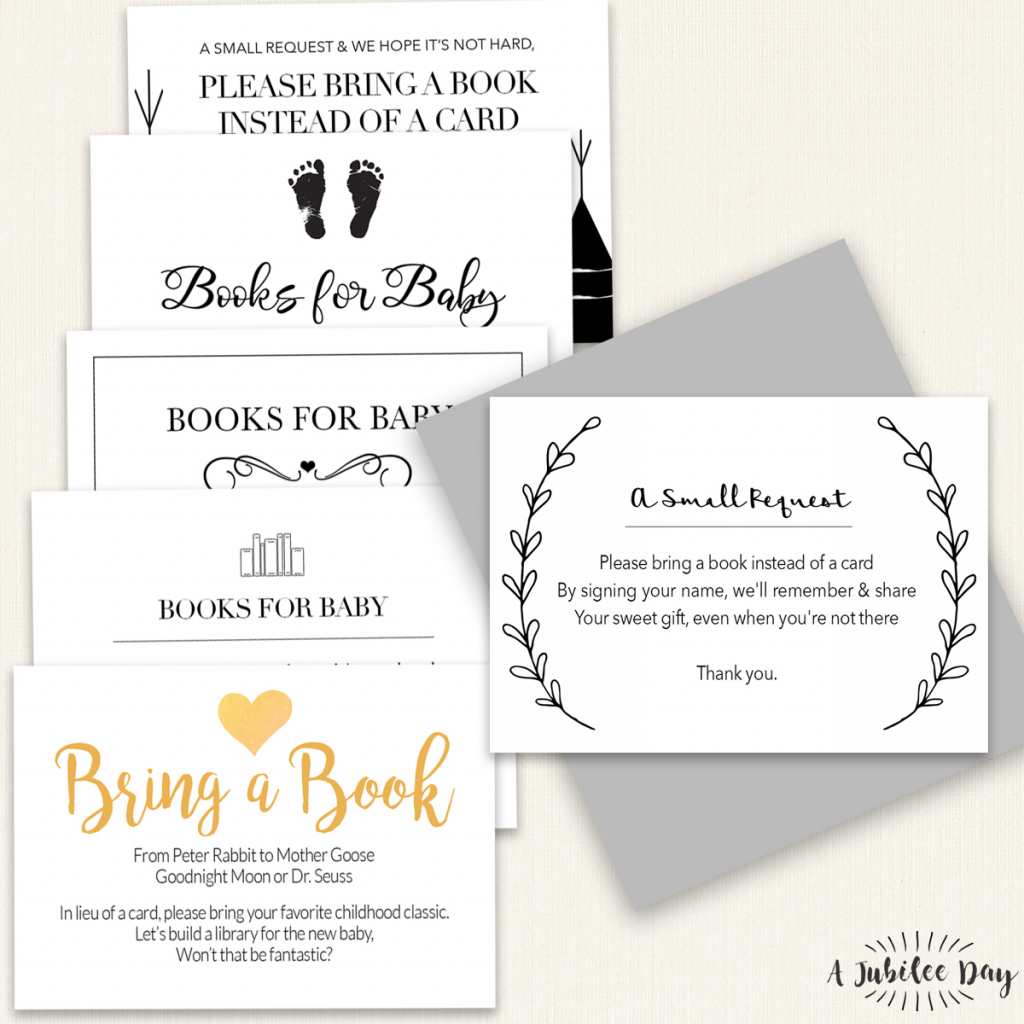 Bring Book Request Card (6 Designs!) - A Jubilee Day | Bring A Book Instead Of A Card Free Printable