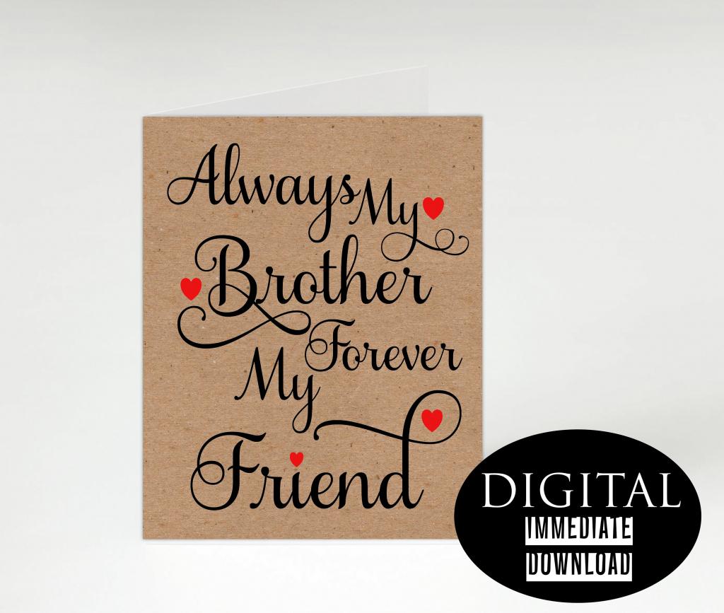 Brother Birthday Card,printable Card,instant Download, Birthday Card | Happy Birthday Brother Cards Printable