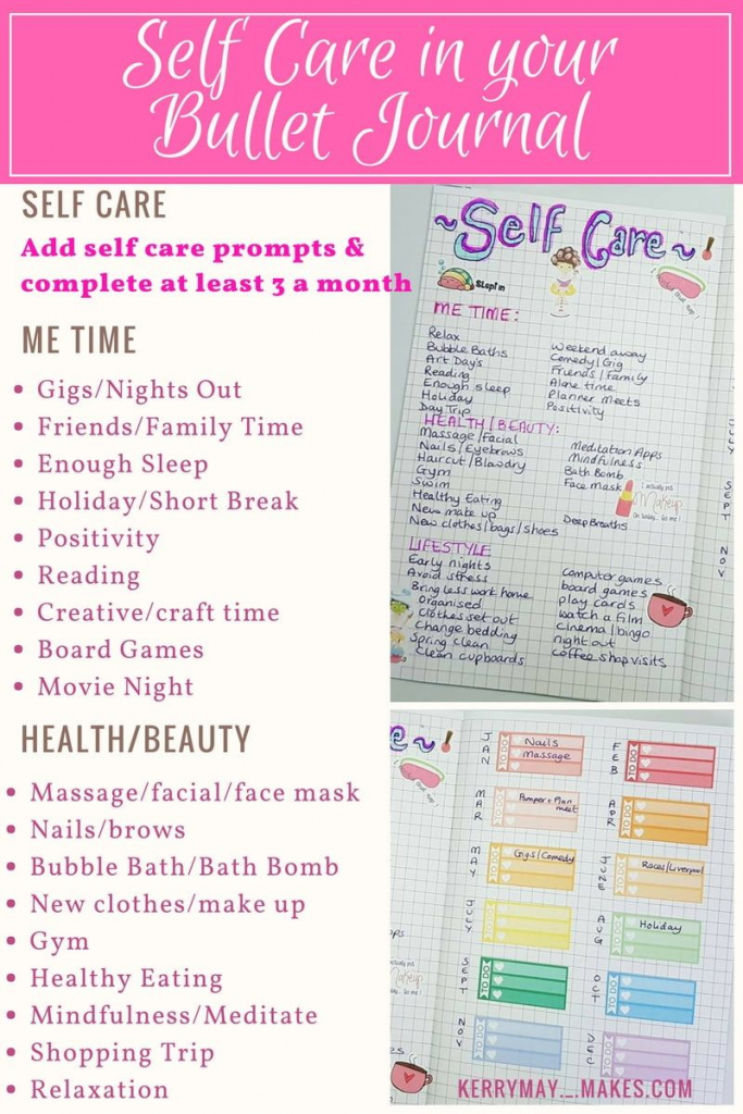 Bujo Self Care Spread Ideas And Free Printable In My Bullet Journal   Self Care Cards Printable