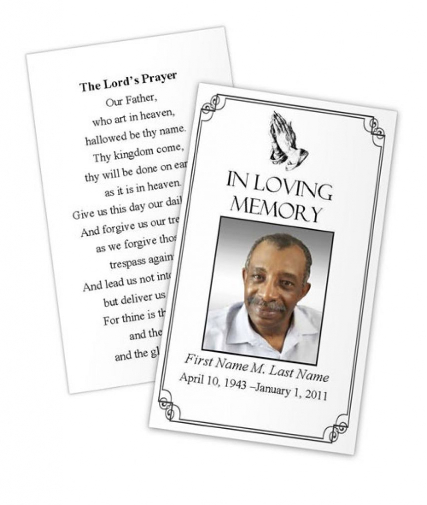 Business Card Photoshop Template Funeral Prayer Card Template Free   Free Printable Funeral Prayer Card Template