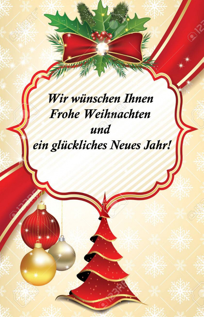 Business Greeting Card For The Year With Text In German Language   Free Printable German Christmas Cards