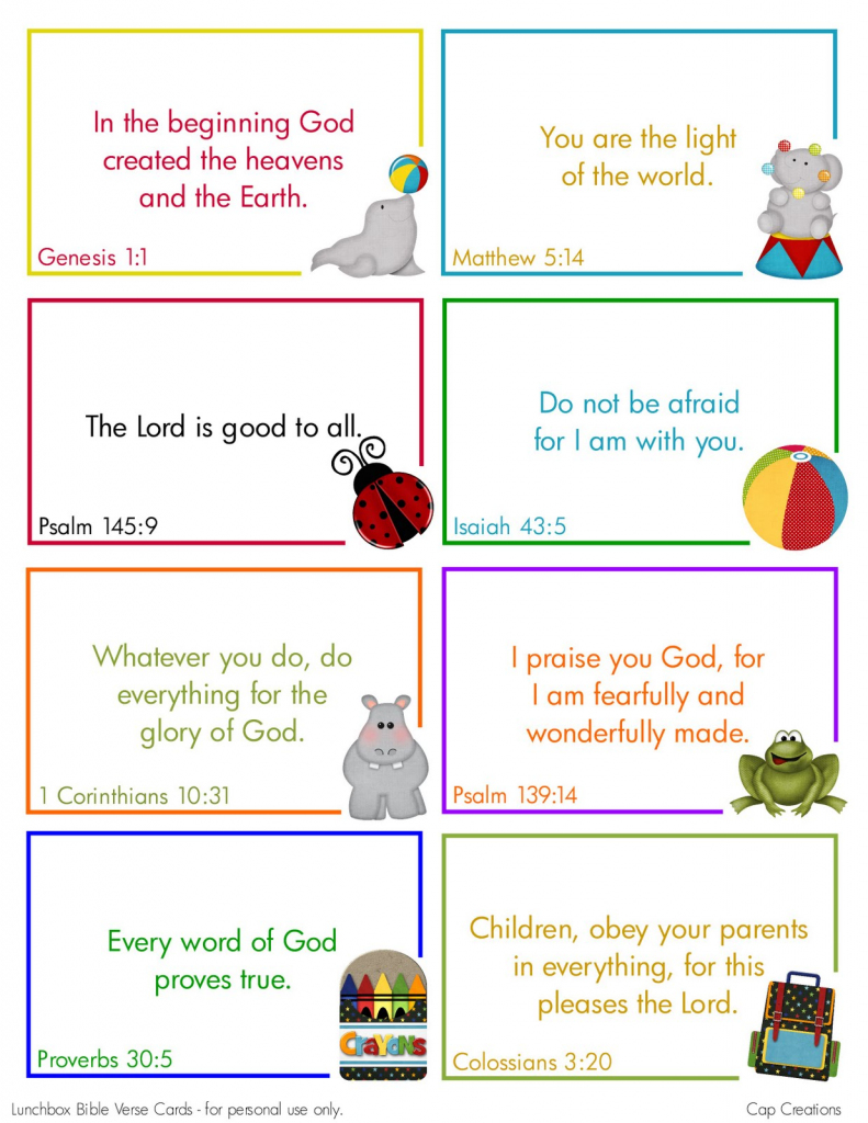 Cap Creations: Free Printable Lunchbox Bible Verse Cards | Free Printable Bible Verse Cards