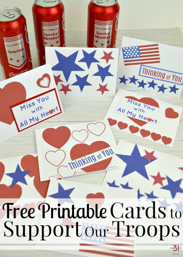 Cards To Support Our Troops - Free Printable | For Military Families | Military Thank You Cards Printable