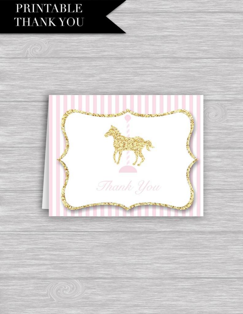 Carousel Horse Thank You Card Printable: Carousel Thank | Etsy | Horse Thank You Cards Printable