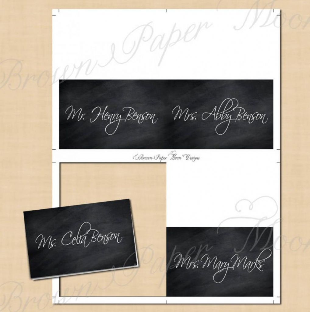Chalkboard Place Card Tent: Text-Editable, Printable On Avery 5302 | Avery 5302 Printable Place Cards