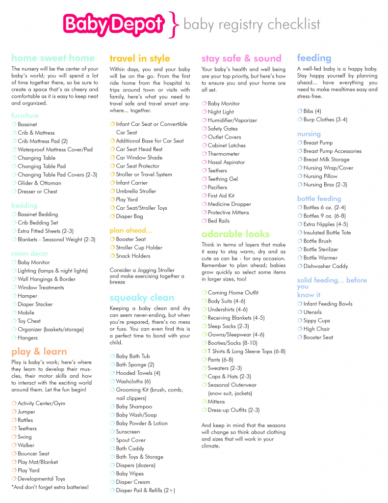 Checklist Template Samples Free Gift Card For Baby Registry Ideas | Babies R Us Printable Registry Cards