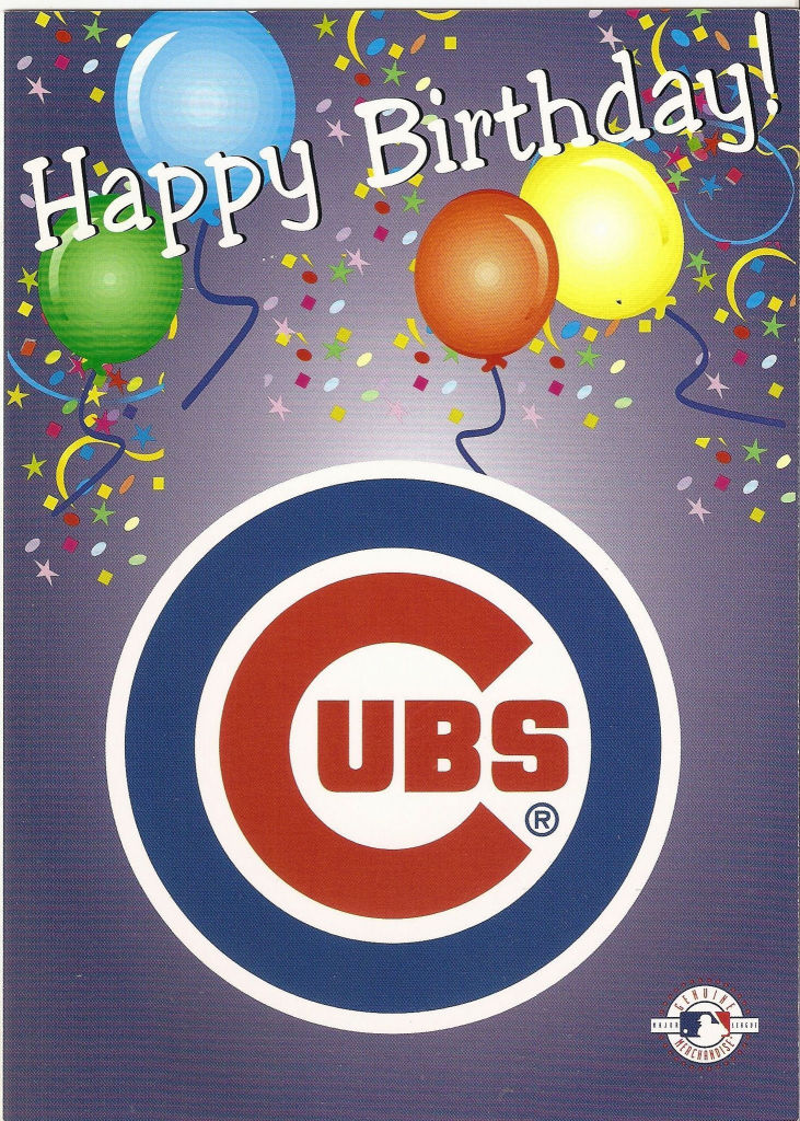 Chicago Cubs Happy Birthday Greeting Card   Birthday   Chicago Cubs   Printable Chicago Cubs Birthday Cards