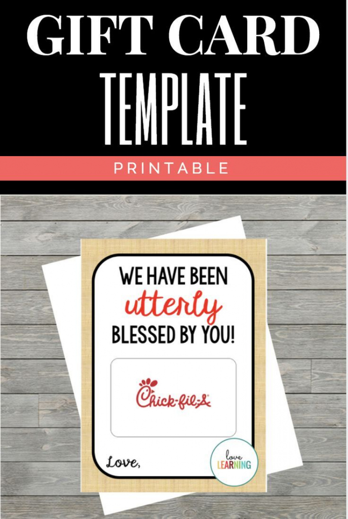 Chick Fil A Gift Card Holder: Instant Download   Chick Fil A Printable Gift Card