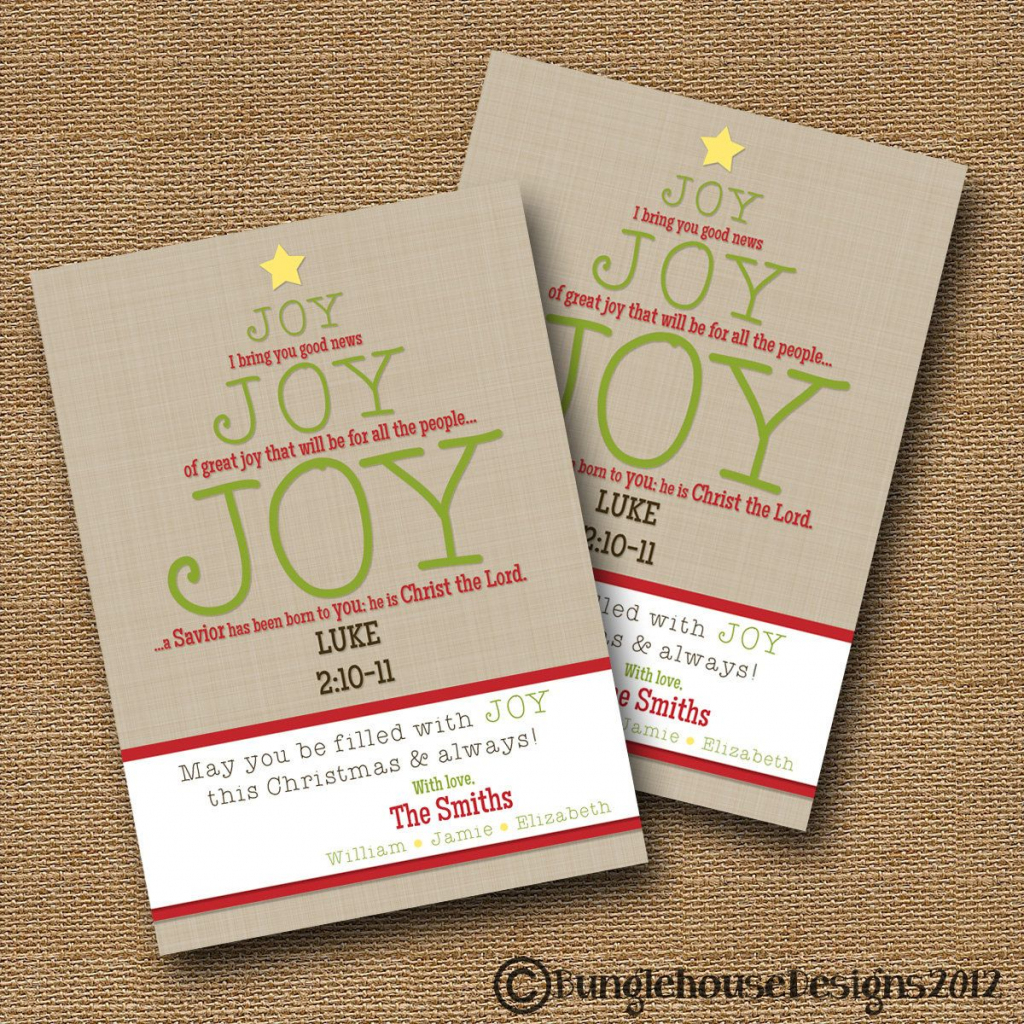 Christmas Card | Joy Joy Joy | Christian Christmas Card | Typography | Printable Christian Christmas Cards