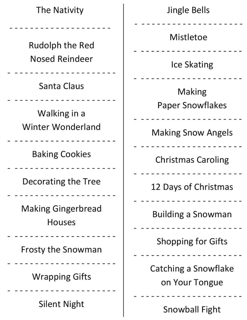 Christmas Charades (Free Printable Party Game)   Christmas   Free   Free Printable Christmas Charades Cards