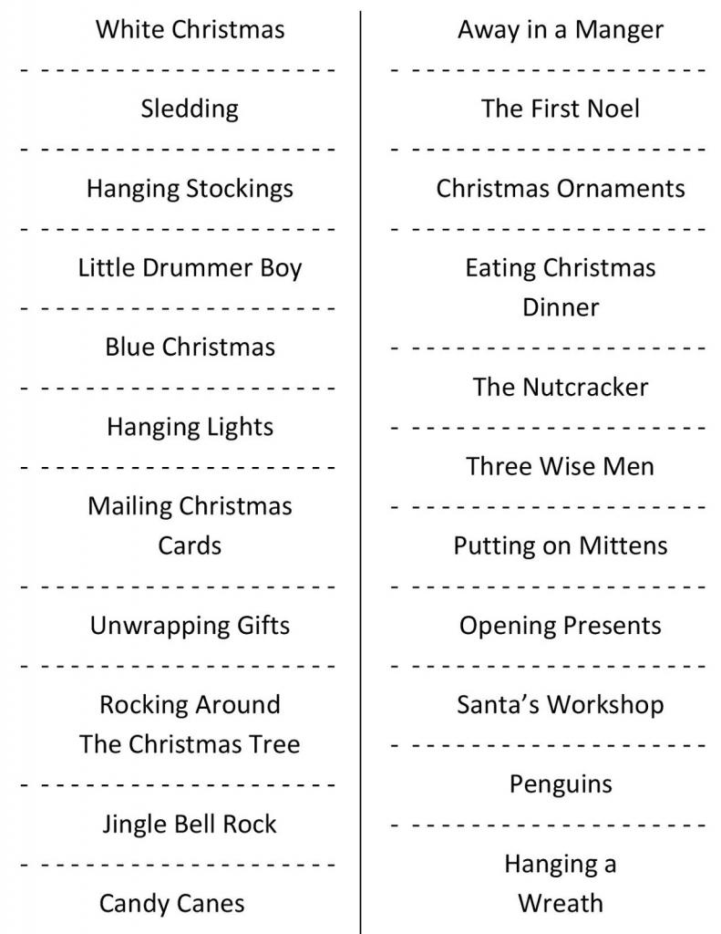 Christmas Charades (Free Printable Party Game)   Free Printable Christmas Charades Cards