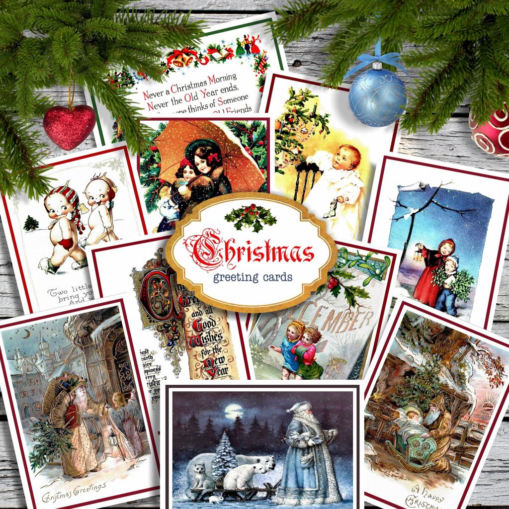 Christmas Greeting Cards Kit 10 Printable Vintage Invitation | Etsy | Printable Vintage Christmas Cards