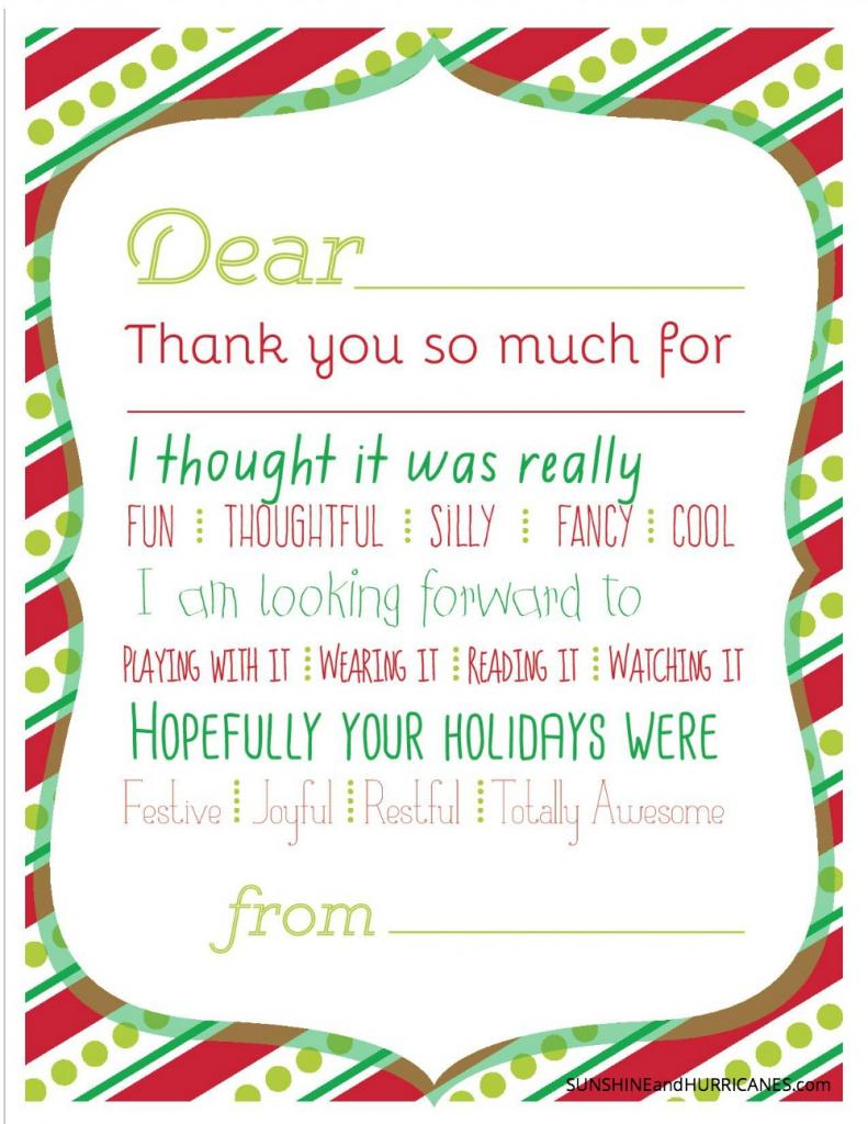 Christmas Printable Thank You Cards For Kids | Printable Christmas Thank You Cards