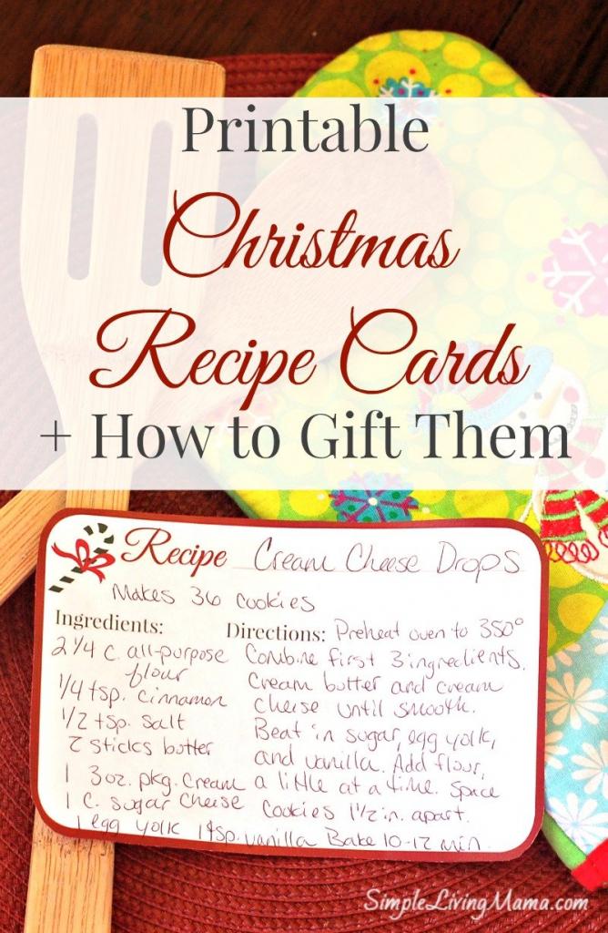 Christmas Recipe Cards - Free Printable - Simple Living Mama   Printable Recipe Cards For Christmas