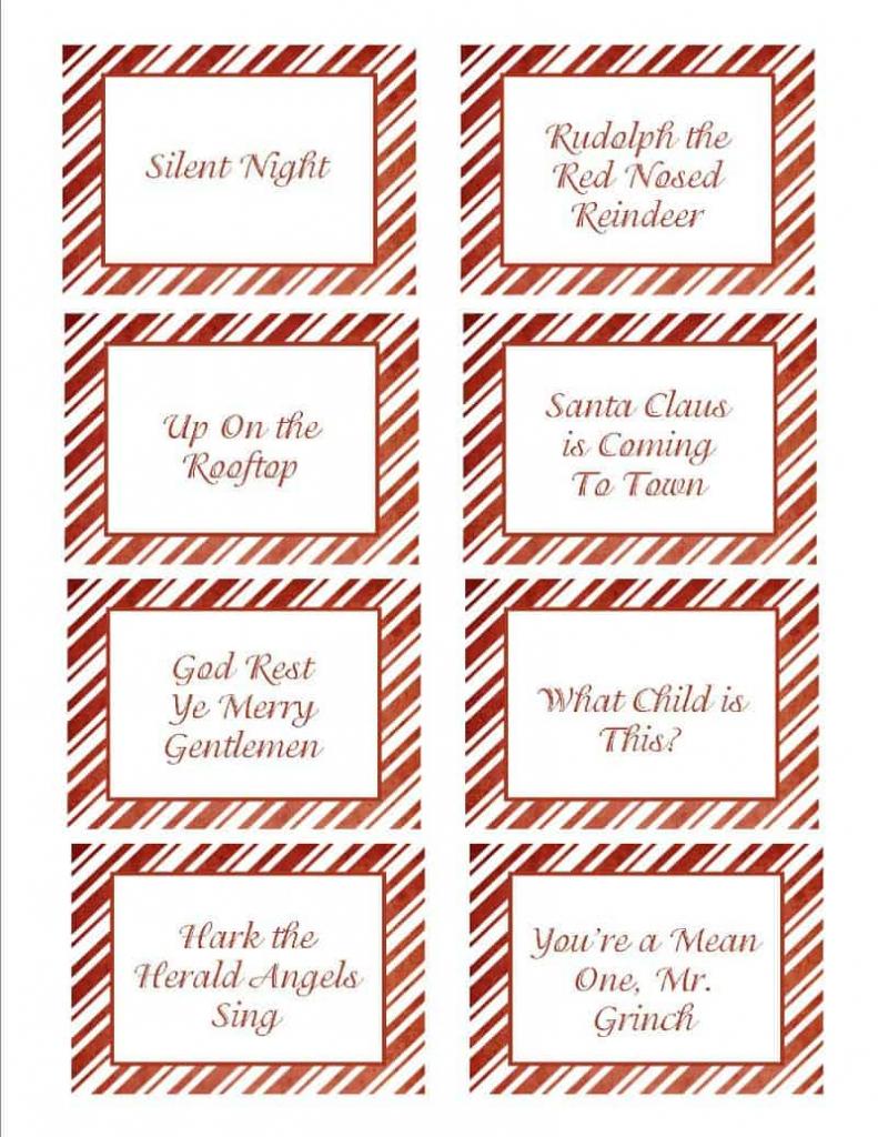 Christmas Songs Pictionary- Free Christmas Game   Free Printable Christmas Pictionary Cards