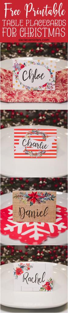 Christmas Table Place Cards { Free Printable} - Six Clever Sisters | Christmas Table Name Cards Free Printable