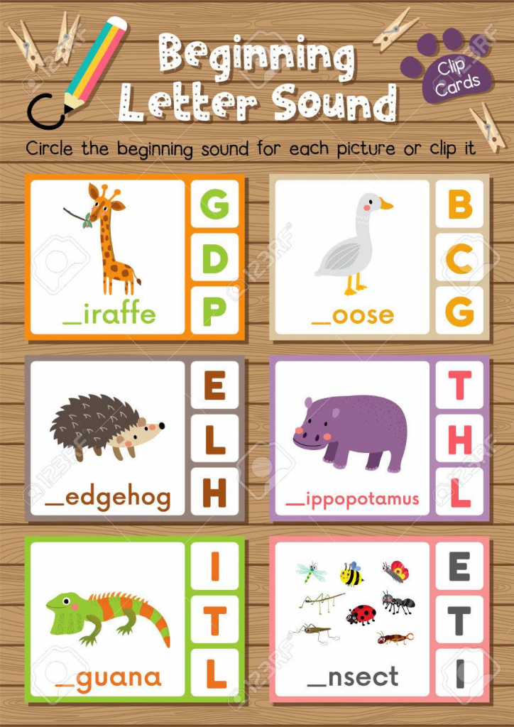 Clip Cards Matching Game Of Beginning Letter Sound G, H, I For   Animal Matching Cards Printable
