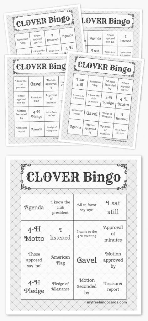 Clover Bingo | 4H | Free Printable Bingo Cards, Free Bingo Cards | Printable Bingo Cards 4 Per Page