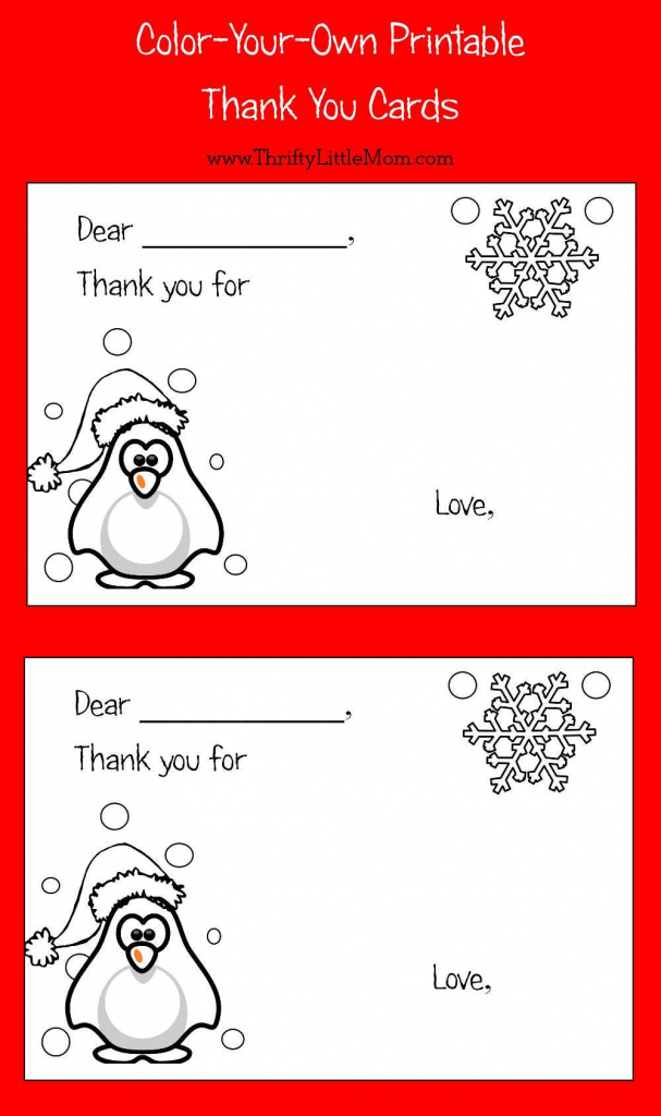 Color-Your-Own Printable Thank You Cards For Kids | Thrifty Thursday | Free Printable Color Your Own Cards
