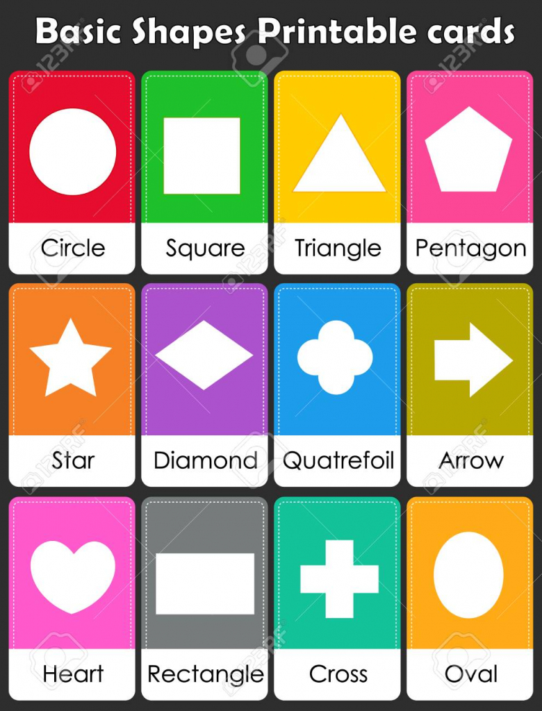 Colorful Geometric Shapes With Their Name Flash Card Collection | Geometric Shapes Printable Flash Cards