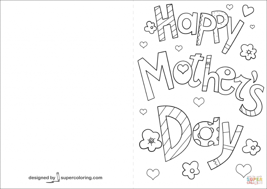 Coloring Pages For Mothers Day Happy Mother S Card Page Free | Free Spanish Mothers Day Cards Printable