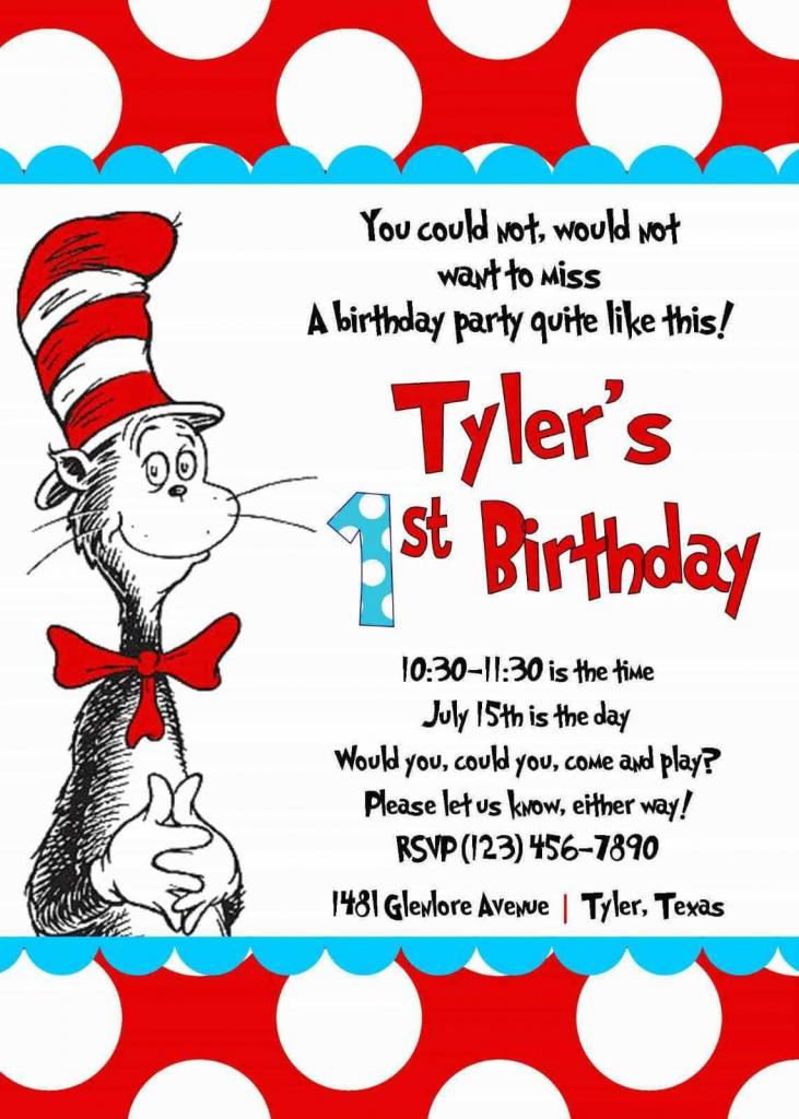 Cool Create Easy Dr Seuss Birthday Invitations | Invitationswww | Dr Seuss Birthday Card Printable