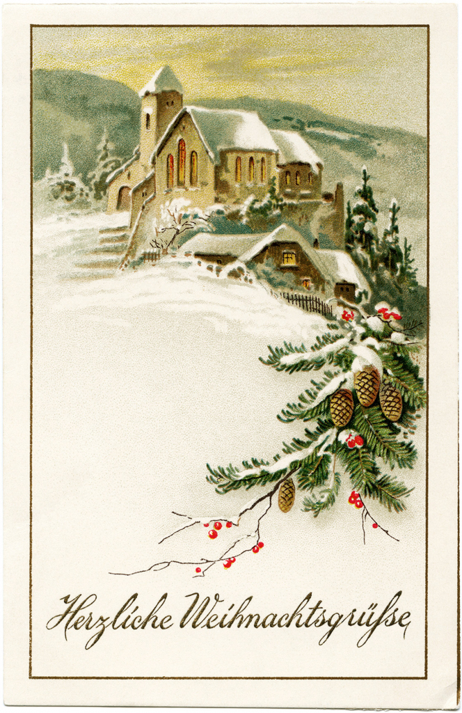 Country Church Scene~ Free Christmas Graphic - Old Design Shop Blog   Free Printable German Christmas Cards