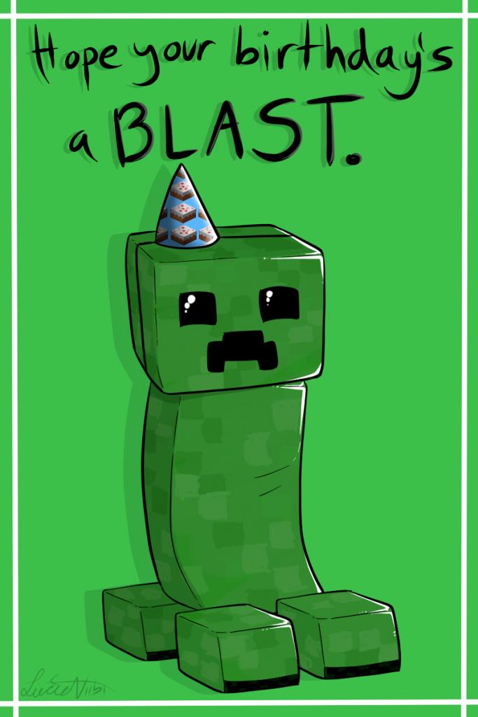 Creeper Birthday Cardlucieniibi.deviantart On @deviantart   Minecraft Birthday Card Printable