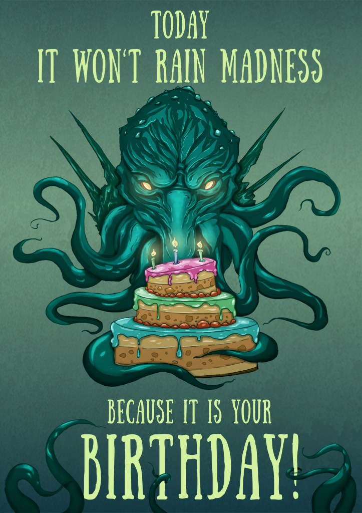 Cthulhu Birthday Card, Lovecraft Birthday Card, Nerdy Birthday Card   Nerdy Birthday Cards Printable