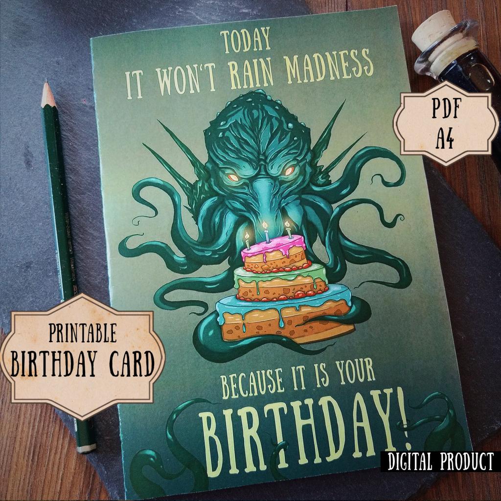 Cthulhu Birthday Card Lovecraft Birthday Card Nerdy Birthday   Etsy   Nerdy Birthday Cards Printable