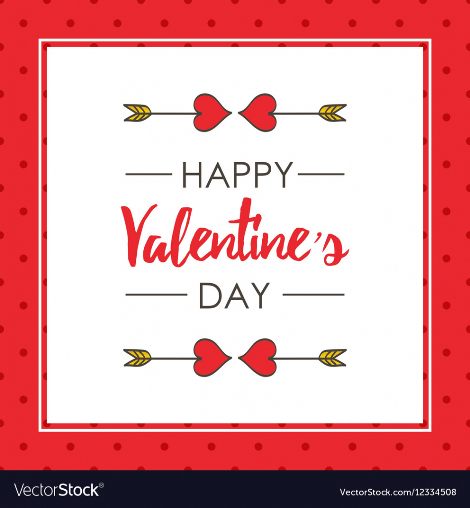 Cute Valentines Day Card Template Royalty Free Vector Image   Valentine's Day Card Printable Templates