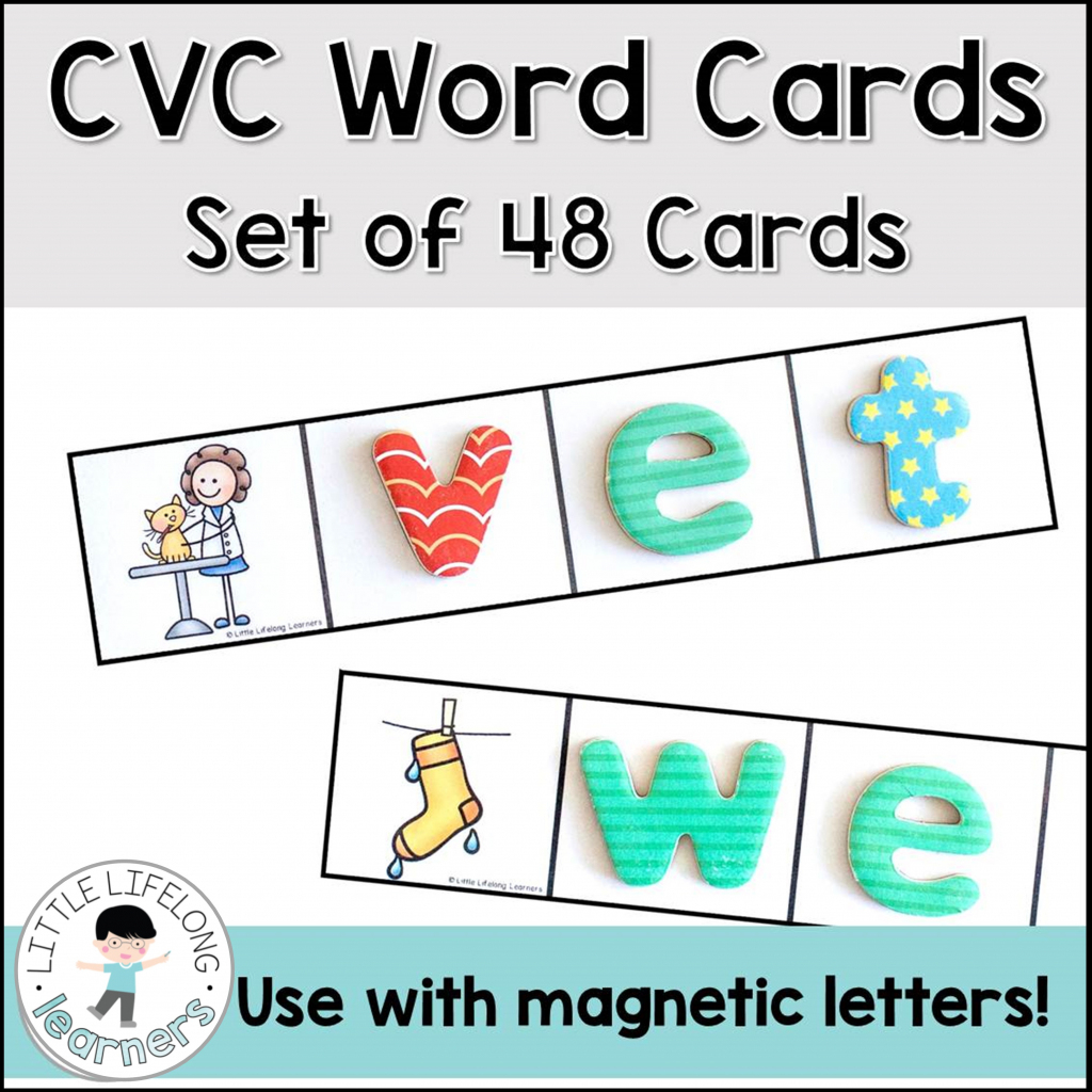Cvc Word Cards For Magnetic Letters - Little Lifelong Learners   Cvc Picture Cards Printable